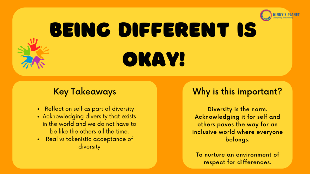 Being different is okay: A diversity Workshop by Ginny's Planet- why is it important and the key takeaways