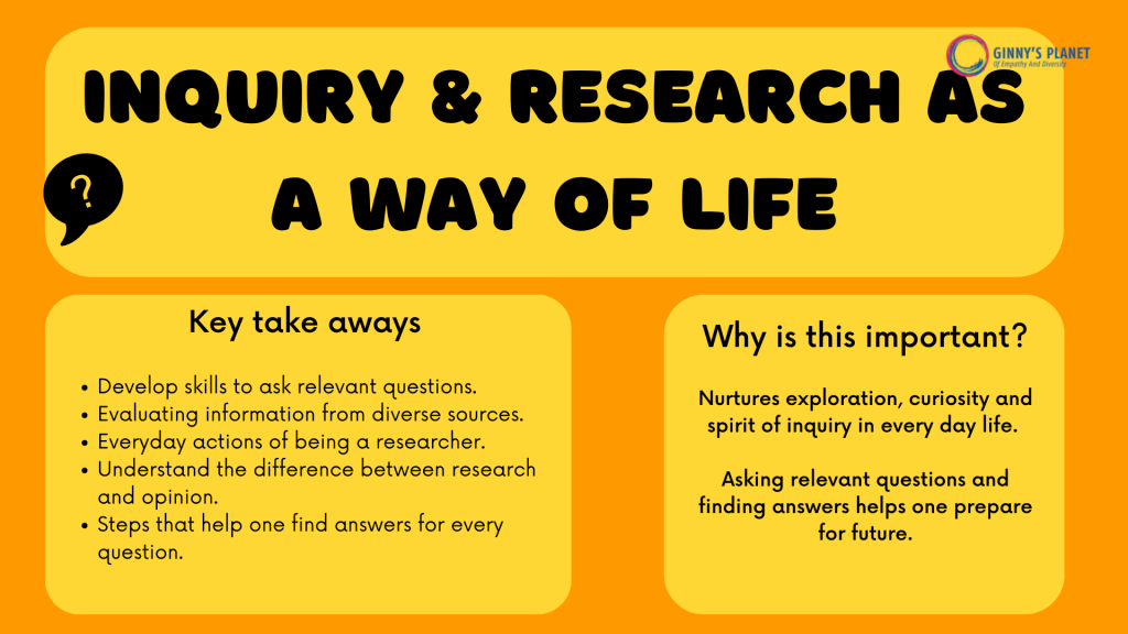 Inquiry & research as a way of life Workshop by Ginny's Planet- why is it important and the key takeaways